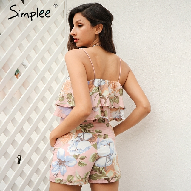 Simplee Off shoulder ruffles print women jumpsuit romper Sexy strap backless two-piece-suit Summer shorts playsuit overalls