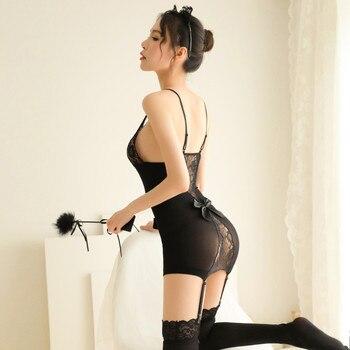 Women Sexy Erotic Lingerie Babydoll Sleepwear Plus Size Sexy Hot Erotic Underwear Porno Costumes Sexy Garter Belt Stockings Sets 6