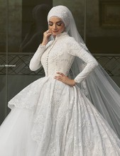 Gorgeous Ball Gown High Collar Muslim Hijab Bridal Wedding Dress Lace Long Sleeve Wedding Gowns