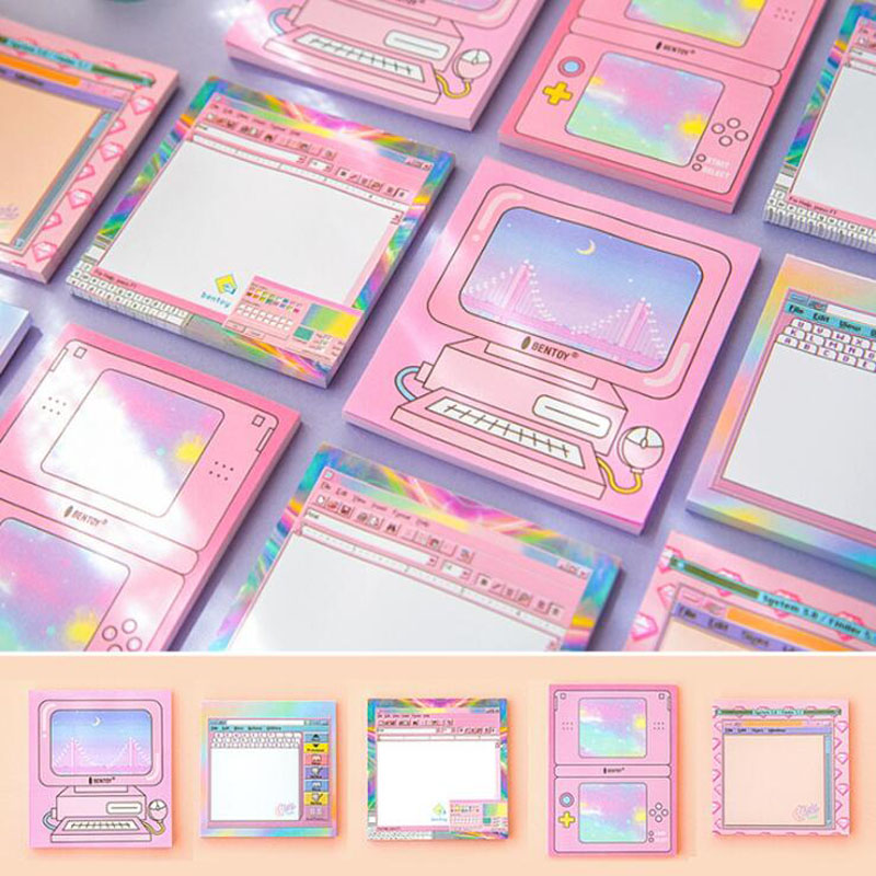 1 Pcs Sweet Colorful Computer Student Memo Pad Paper Sticky Notes Post it Stationery School Supplies Sticky Notes