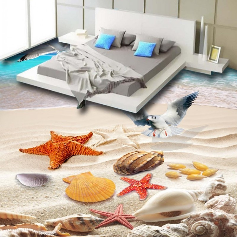 Free Shipping Sea beach gull conch shell 3d floor painting self-adhesive living room bathroom bedroom flooring wallpaper mural
