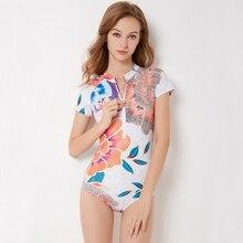Sexy One Piece Swimsuit Women Short Sleeve Swimwear Zipper Monokini Plus Size Bathing Suit May Female Beach Indoor Sport Bather