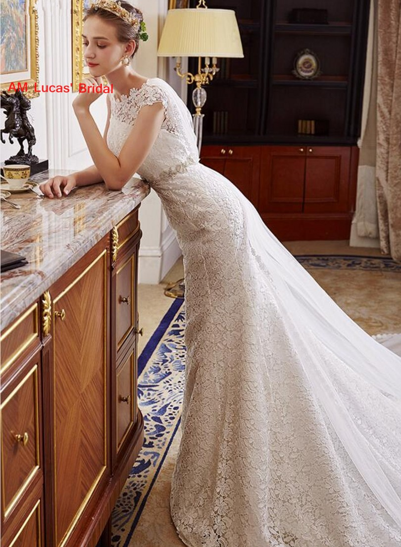 2018 Long Mermaid Wedding Dresses Lace Backless Belt New Bridal Party Gowns  Fairytale Princess Dress-in Wedding Dresses from Weddings   Events on ... 377354ef591f