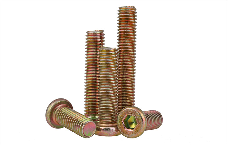 Color zinc  Furniture link screw Carbon steel Flat head screws hex socket M6 M8 screws machine screws m8 cap screws socket flat head countersunk head hex steel bolt zinc plated grade 8 8