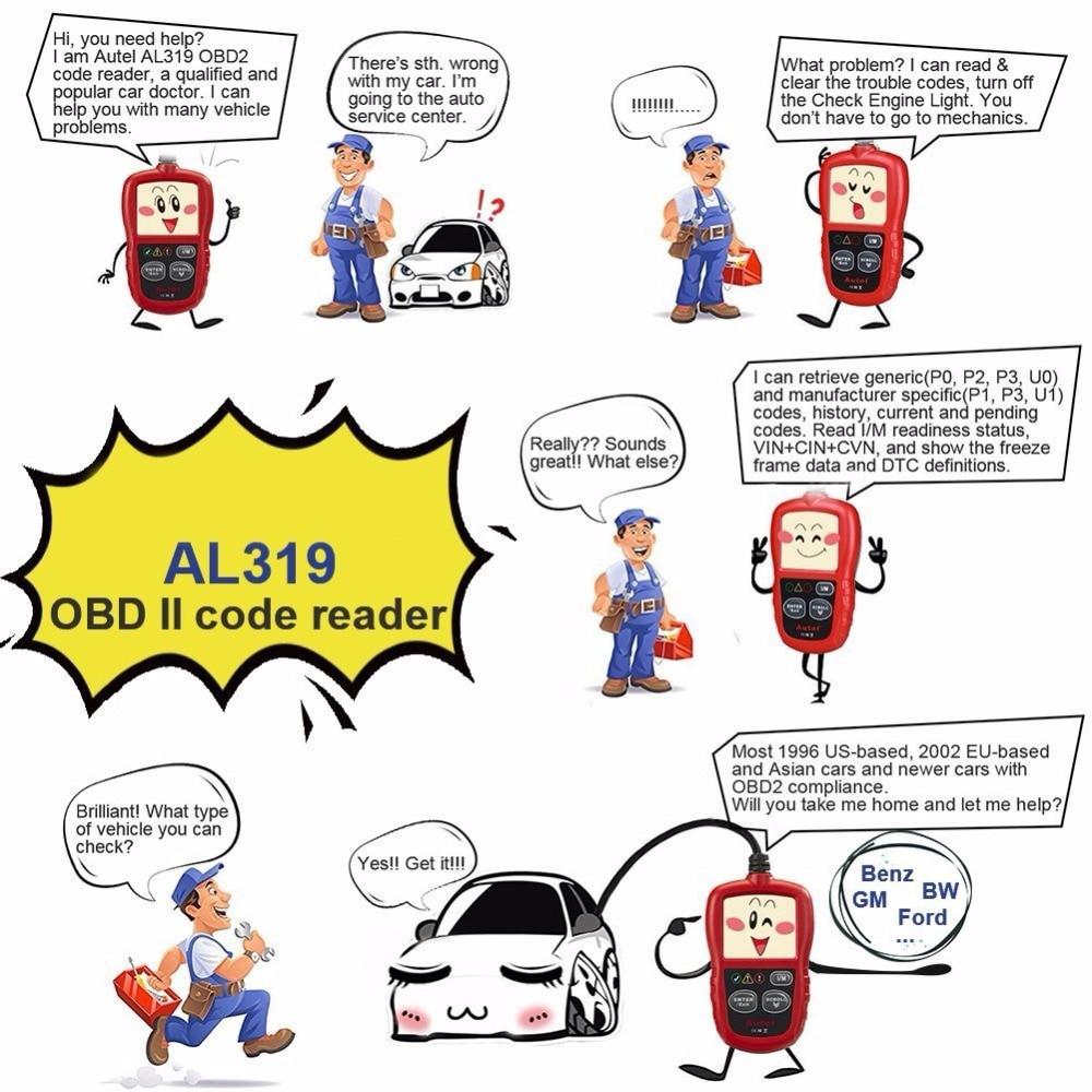 Autel AutoLink AL319 Auto Diagnose Werkzeug DIY Code Reader OBD2 ...