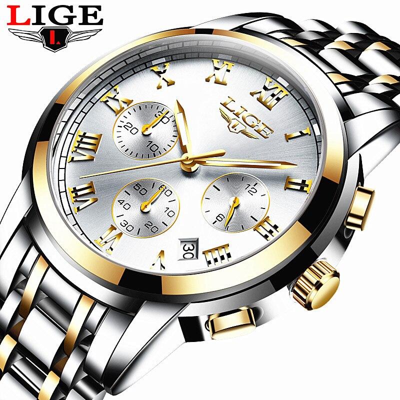 LIGE Men's Watches Military Luxury Brand Watch Mens Quartz Stainless Steel Clock Fashion Chronograph Watch Man Relogio Masculino