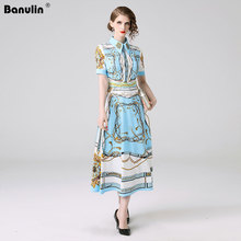 Banulin Fashion Designer Runway Dress Spring Summer Women Short Sleeve Floral Print Slim Elegant Pleated Dresses B6222