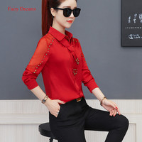 Fairy Dreams Women Solid Shirt Rivet Long Sleeve Spring Summer Blouse 2018 New Style Red Black