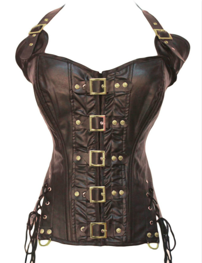 S-XXL Wholesale Sexy Black Brown Steampunk Buckle   Corset   And   Bustiers   Gothic Faux Leather   Corset   Women's Overbust Tops W580901