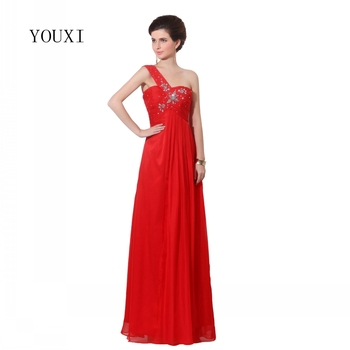 Sexy One Shoulder Red Prom Dresses 2019 Long Beaded  Crystals Formal Long Evening Gowns PD31