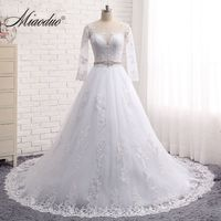 Vestido De Noiva Vintage Long Sleeves Wedding Dresses Sheer Tulle Back Lace Appliques Wedding Gowns Bead