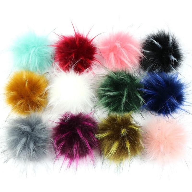 DIY 1pc Fashion 10cm Pom Poms Fluffy Faux Raccoon Fur Pom Pom Ball Soft Handmade For Knitting Beanie Hat Scarf Party Accessory