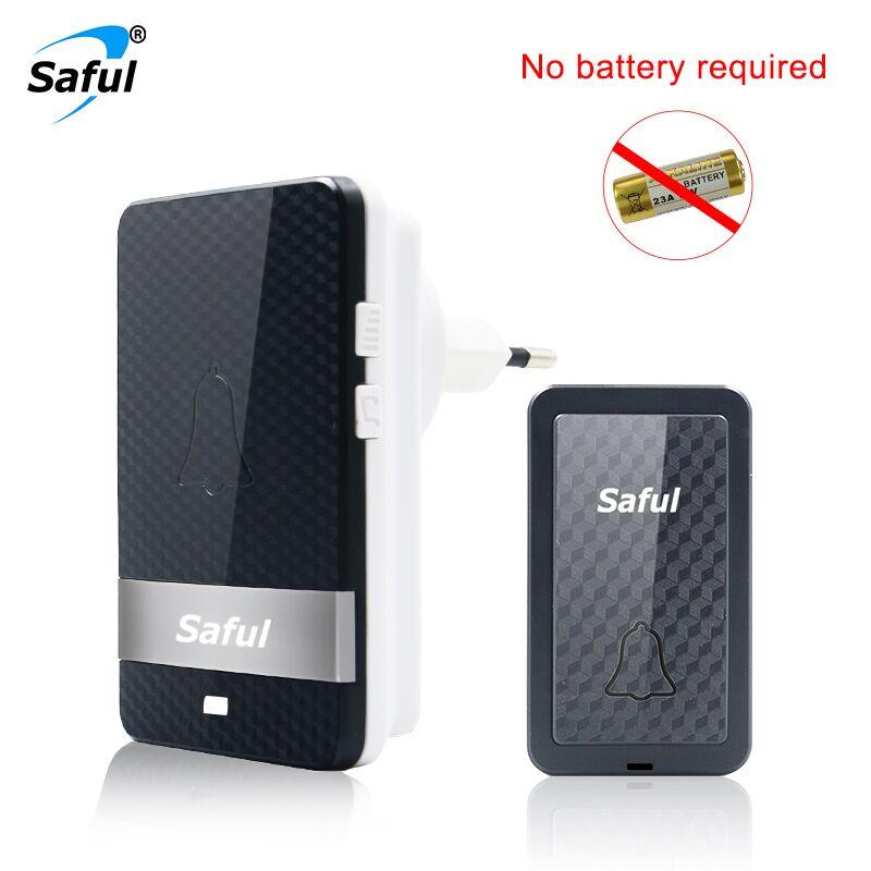 Saful EU/US Self-powered Doorbell IP68 Waterproof Wireless Doorbell 28 Ringtones 150M Button and Receiver for Ring bells