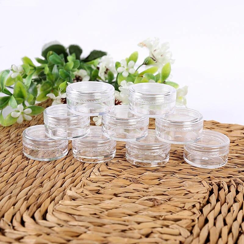 Hot 50 Pcs Set 3/5g Cosmetic Empty Bottle Circular Plastic Transparent Sample Jars Pots For Glitter/Nail Art/Cream SJ66