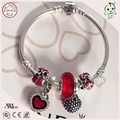 Trendy Good Quality 925 Sterling Silver Baby Bracelet  With Silver Heart Pendants Charms For Girl Baby