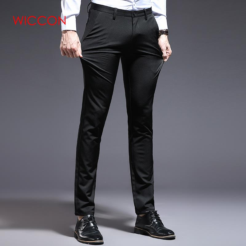 2020 Men Spring Full Length Straight Slim Fitness Formal Business Pant Clasic Dress Pants Male Casual Solid Trousers