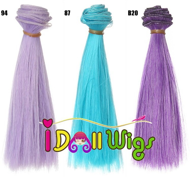 15100cm 10pcslot Bright Pure Color Straight Doll Hair Extension