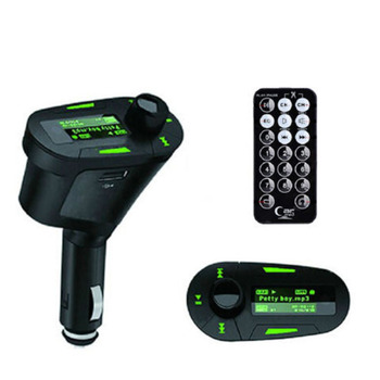 Wireless FM Transmitter Car Kit MP3 Player Car charge ModulatorUSB SD MMC LCD+Remote Green LCD+Remote control image