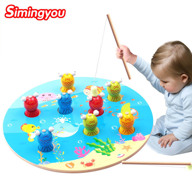 Simingyou 3D Wooden Fish Magnetic Puzzle Fishing Montessori Educational Wooden Toys B40-74 Drop Shipping цена