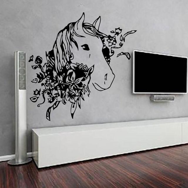 Traje de animales caballo flores poster tatuajes de pared de ...