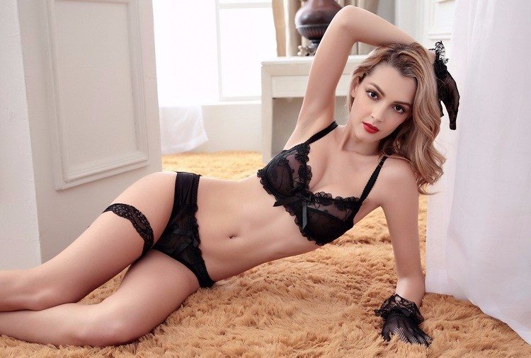 Shitagi France Women Sexy Ultra-thin Underwear Set Transparent Lace Bra & Brief Set Sweet Tow Bow Intimates For Girl Embroidery 13