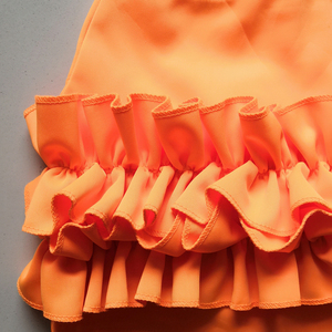 Image 3 - 2020 Women Spring Orange Sleeveless Ruffles Elastic O Neck 2 pcs Sets Crop Tops + Shorts Women Beach Playsuit