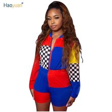 396d361c8d HAOYUAN Spring Casual Playsuit Fashion Rompers Womens Chess Board Plaid  Patchwork Overalls Ladies Bodycon Racing Car