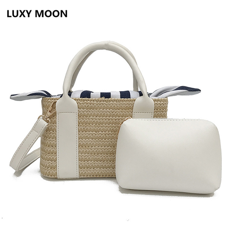 Luxy Moon Bag Female 2018 Summer Straw Handbag 2 Pcs/Set Women Mini Woven Messenger Bag Candy Color Shoulder Strap Girls Handbag