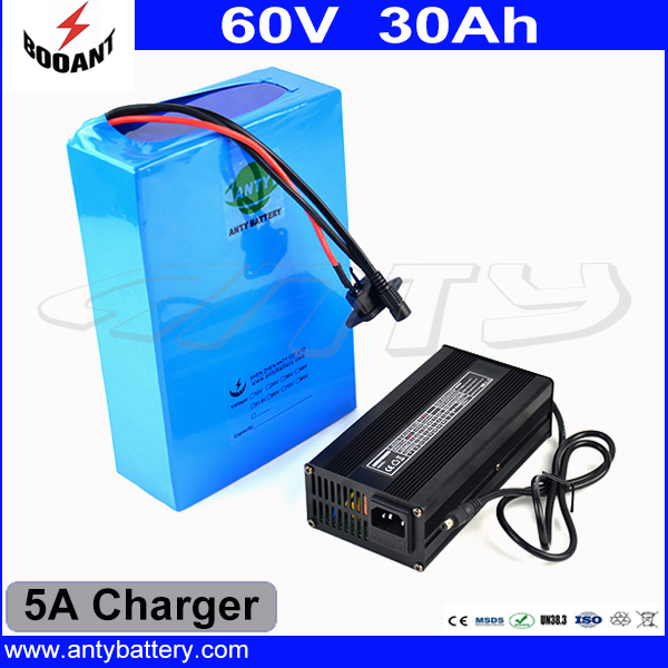 60V 30Ah 2000W High Capacity Electric Bike Battery Built-in 50A BMS Lithium Battery Pack 60V With 5A Charger Free Shipping 2016 promotion new standard battery cube 3 7v lithium battery electric plate common flat capacity 5067100