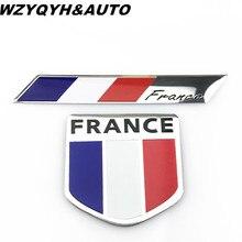 3D Metal France Flag logo Shield Rectangle Emblem Badge S line Motorsport Decoration Motorcycle Auto Sticker Decal Car Styling