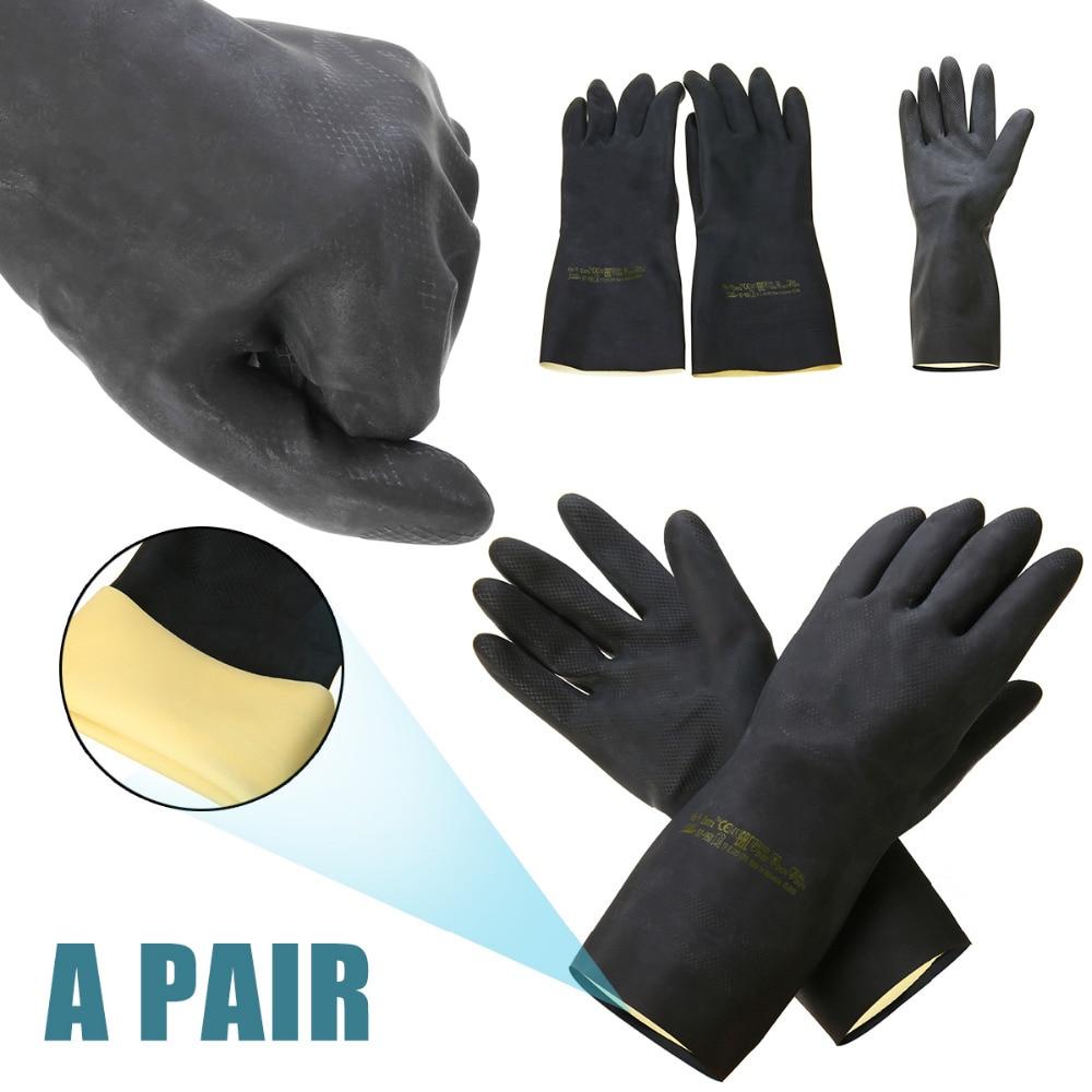 1 Pair  Heavy Duty Natural Rubber Gloves Garden Gloves Acid Alkali Resistant Chemical Gauntlet Household Gloves Black