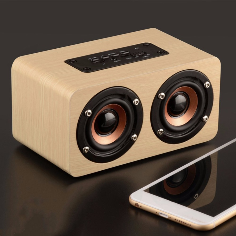 Wireless Bluetooth W5 speaker Wooden Portable Full Range High Definition Double Trumpets TF Card Loudspeaker English