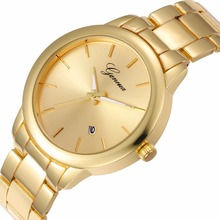 Top Quality DATE Luxury Golden Stainless Watch Women Minimalist Geneva style dial Fashion wristwatch girl