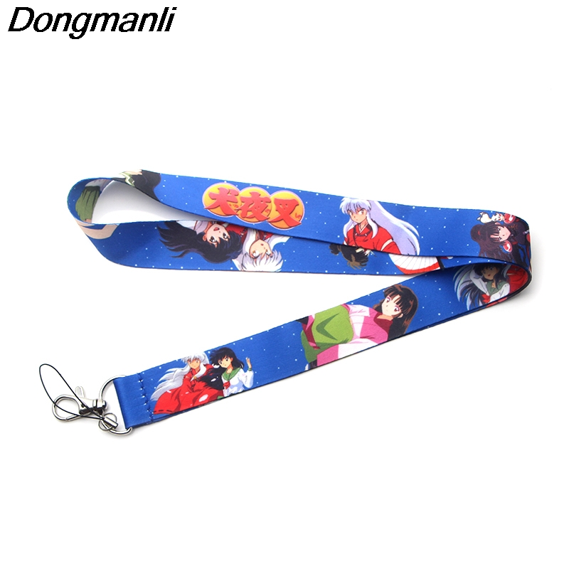 P3671 Dongmanli Anime Inuyasha Keychain Lanyards Id Badge Holder ID Card Pass Gym Mobile Phone USB Badge Holder Key Strap