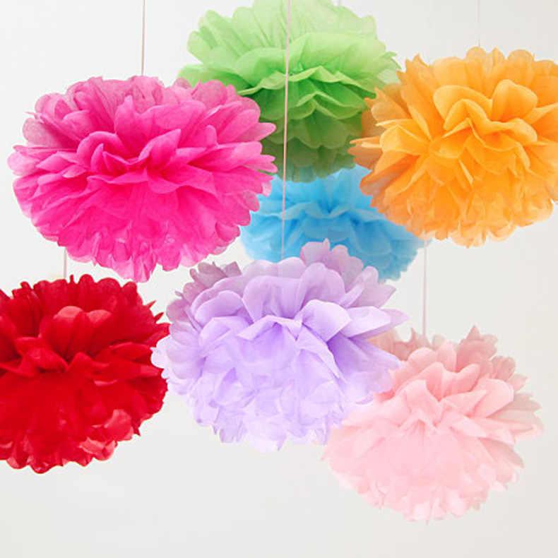 1 pc 10''25cm Papel Tissue PomPom Bola Suprimentos Flor Decorativa para o Casamento Partido Home Sala de Banquetes Decor Pompom Fontes Do Ofício