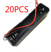 20 Pcs Small Box Plastic Shell Battery 1x18650 3.7V Case Holder Case Storage Clip Black With Wire