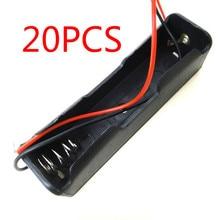 20 adet küçük kutu plastik kabuk pil 1x18650 3.7V Case tutucu kılıf saklama klip siyah tel