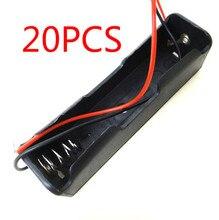 20 chiếc Hộp Nhỏ Vỏ Nhựa Pin 1x18650 3.7V Ốp Lưng Giá Đỡ Lưng Lưu Trữ Kẹp Đen Có Dây