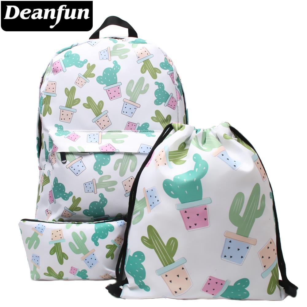 Deanfun 3PCS /set Printed Cactus Women Shoulder Backpack Teenage Girls Drawstring Bags for School все цены