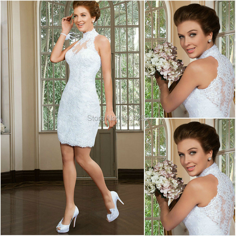 AW012 2019 Custom Made Short Lace Wedding Dresses Sexy High Neckline Off Shoulder Applique Wedding Dress White Bridal Gowns