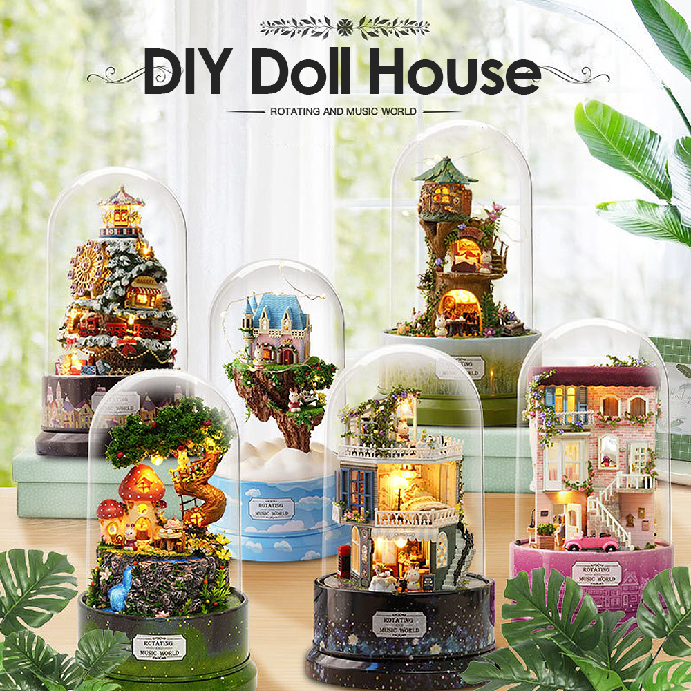 1Pcs Music Dollhouse Rotating cabin DIY Doll House with transparent cover Music box for children Christmas Gift