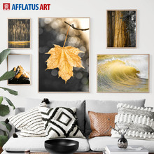 Golden Prairie Leaves Sea Mountain Tree Wall Art Canvas Painting Nordic Posters And Prints Pictures For Living Room Decor