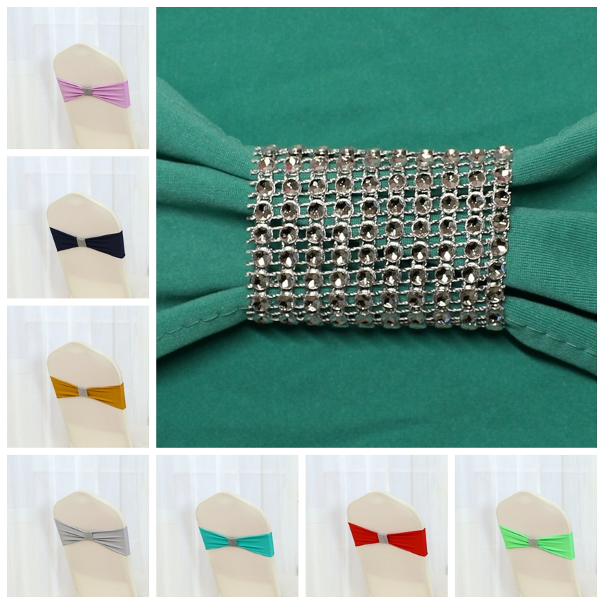 26 Colours Spandex Sash Chair Sash Bow Tie Ribbon Amazing Tie Bands Wedding Party Banquet Decoration Wholesale With Shiny Belt