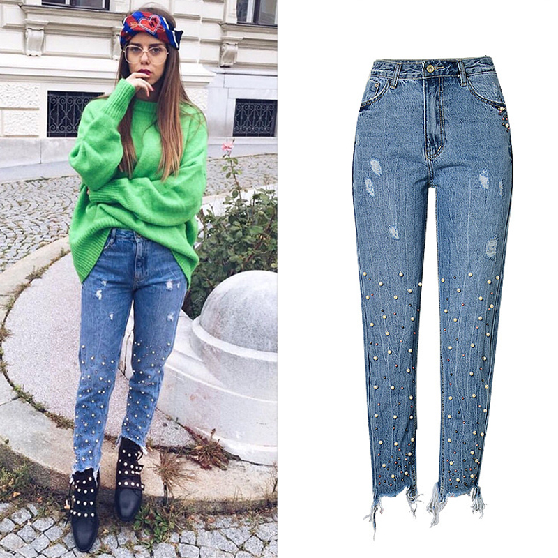 Sexy Women Embroidered Flares Pencil Hole Jeans Female European and American Style Brand Skinny Pant Baggy Jeans for Women S755