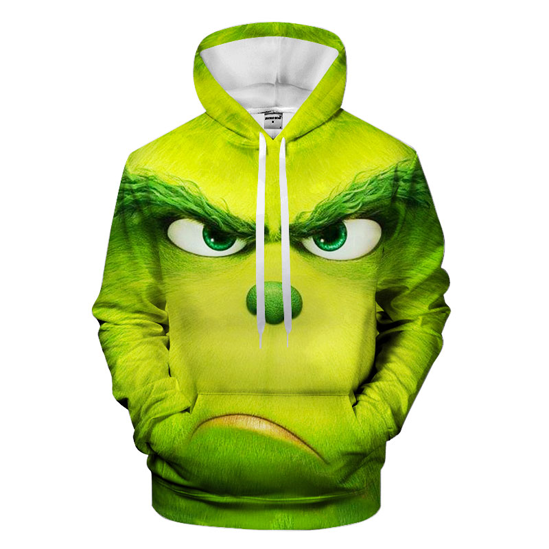 Green mob Hoodies Hooded Unisex Hat 3D Sweatshirts Print Colorful