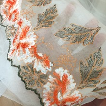 SALE 5 yards/lot Orange Floral Embroidery Tulle Lace Trim for baby doll accessories, craft supplies