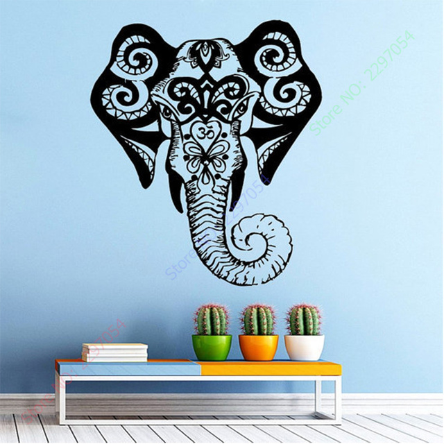 Free Shipping Elephant Wall Decal Indian Pattern Om Sign Living Room Vinyl  Carving Wall Decal Sticker