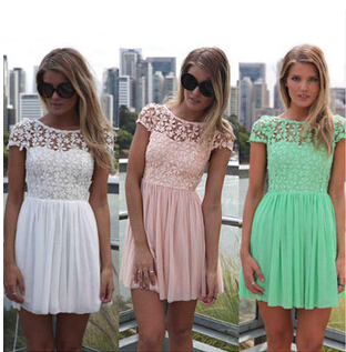 (BR-825) 2014 New Fashion Summer Short Sleeve Lace Chiffon Patchwork Dress Casual Floral Pleated - Sweet Heart Store store