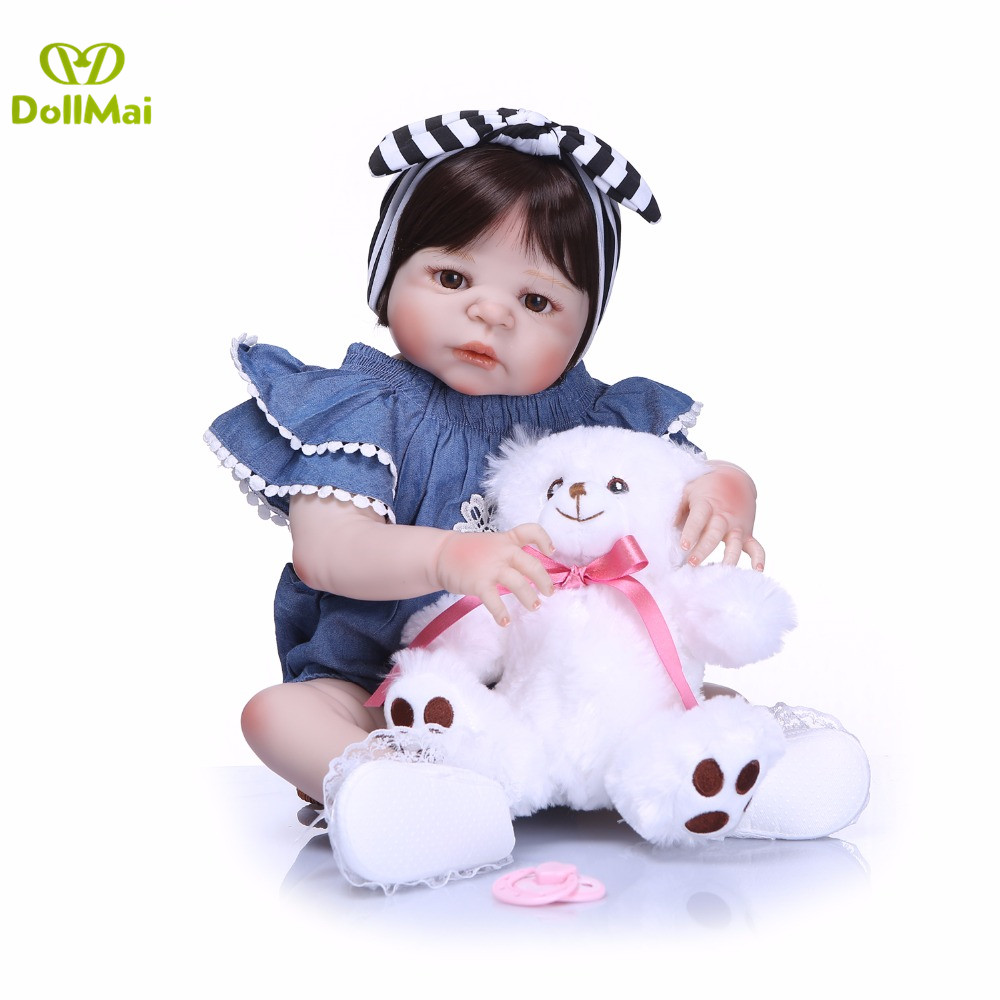 Bebe doll reborn 2357cm full body silicone reborn baby girl dolls with bear pacifier bambole reborn brinquedosBebe doll reborn 2357cm full body silicone reborn baby girl dolls with bear pacifier bambole reborn brinquedos