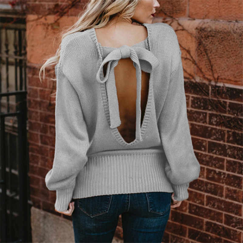 knitted sweater women white gray black autumn winter new europe and america long sleeve loose round neck fashion sweater JD486
